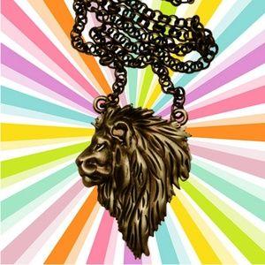 Lion Face Necklace Leo Zodiac Jungle Big Cat